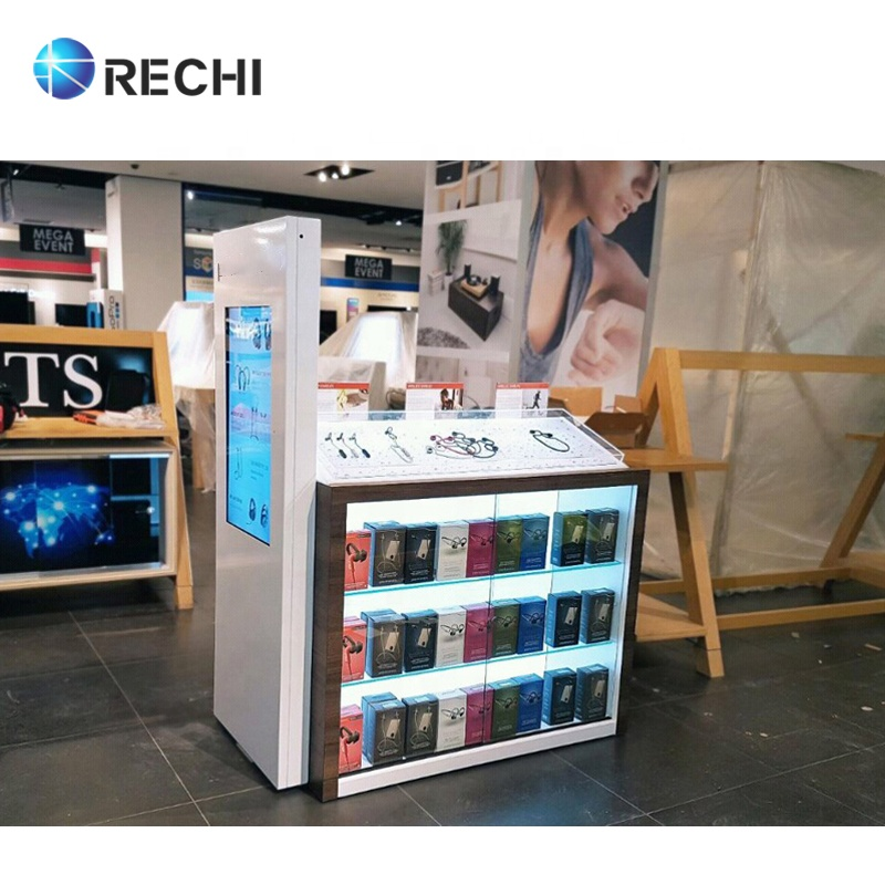 RECHI Custom Acrylic Cell Phone Accessory Display Cabinet/Counter Display Acrylic With Lights For Retail Electronic Store