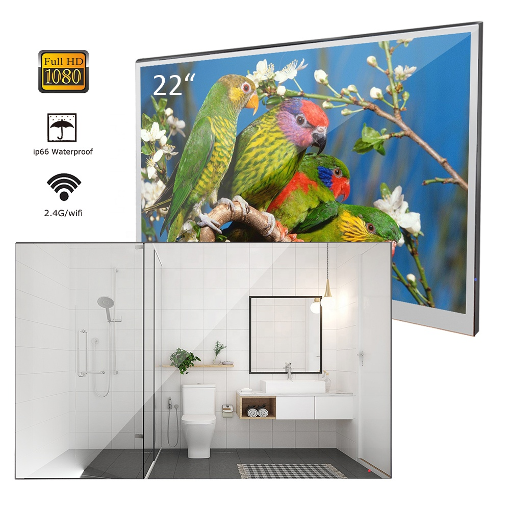 <strong>22</strong> inches High End Mirror Waterproof LED TV 1080P Android Smart Television Hotel Bathroom