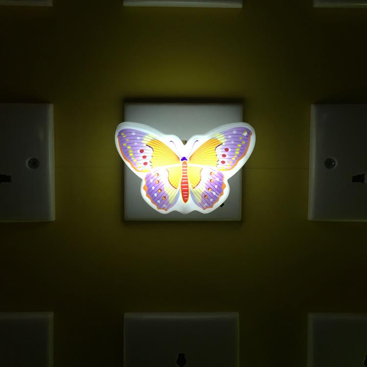 OEM W094 Beautiful Butterfly Animals cartoon 4 SMD mini switch plug in room usage with  night light