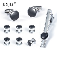 Accept custom silver color metal black blank cufflinks and studs set for shirt
