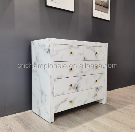 Hot selling luxury home furniture white marble glass storage cabinet