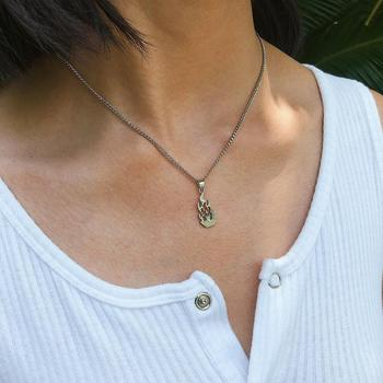 Flame Necklace Geometric Pendant Necklace Gold Chains Necklace(EJ1905)