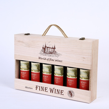 Factory sale wooden box wine box for 6 bottels
