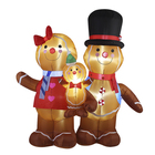 Family Customized Size Waterproof Fabric Inflatable Gingerbread Family For Christmas Festival Decoration