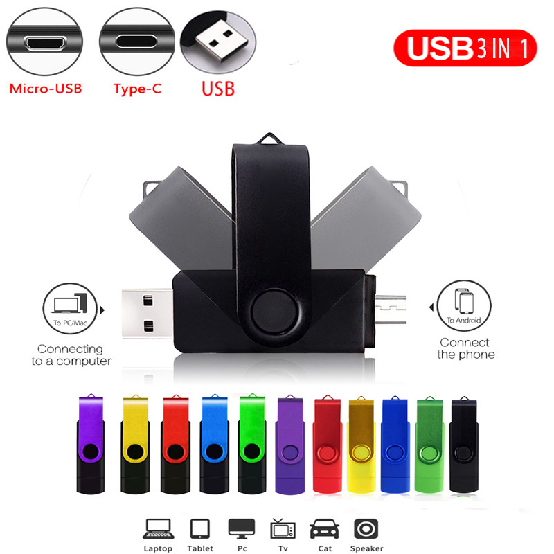 USB flash drive OTG 3 in 1 high Speed drive 64 32 16 8 GB 4GB external storage pen drive Micro USB Stick for iphone android - USBSKY | USBSKY.NET