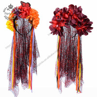 Day Of The Dead Veil Corpse Bride Roses Mexican Halloween Fancy Dress Flower Hairband Headband Halloween Party Costume Accessory