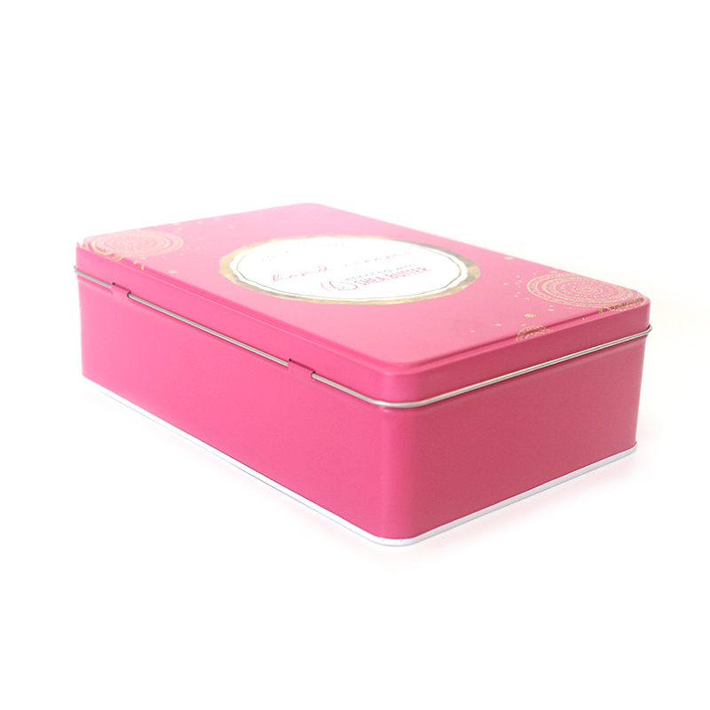 Empty Wholesale Custom New  Rectangular Round Candy Cookie Biscuit Metal Tin Can Cosmetic Gift Tin Box With Hinged Lid