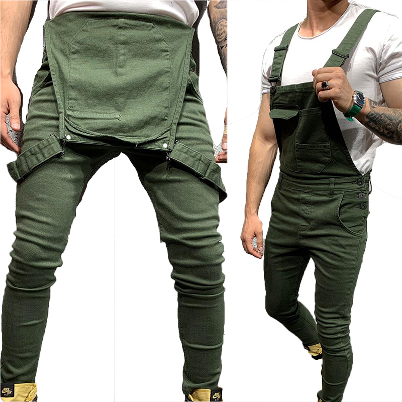 Mens Fashion Denim Dungaree Bib Overalls Jumpsuits Moto Biker Jeans Pants Trousers