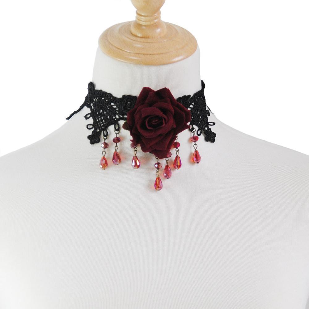 Merah Kristal Air Drop Kalung Kalung Pesta Perhiasan Gothic Perhiasan Vintage Renda Mawar Kalung Palsu Kerah Kalung