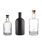 Vodka Bottles Vodka Glass Bottle Wholesale Empty Round Matte Black Liquor Rum Gin Spirits Vodka Glass Bottles With Cork