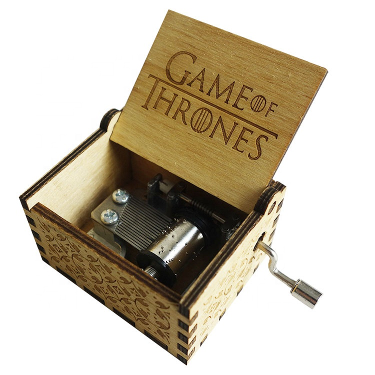 Wholesale Custom Wooden Music Box Engraved Hand Crank Game of Thrones Music Box for Wedding Christmas Birthday Gifts