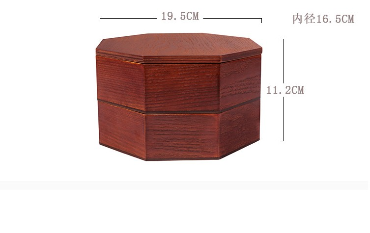 Custom-made Japanese wooden Bento Box creative octagonal students double portable lunch box