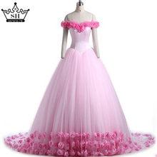 Серен Хилл 2020 розовый цветок Роза свадебное платье длинное Тюлевое Пышное Платье De Mariage свадебное платье CHA2003(China)