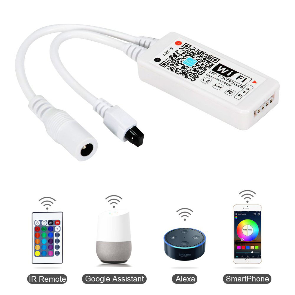 2020 Hot sell IR remote smart WiFi APP google assistant Amazon Alexa sound sync music control RGB led <strong>controller</strong>