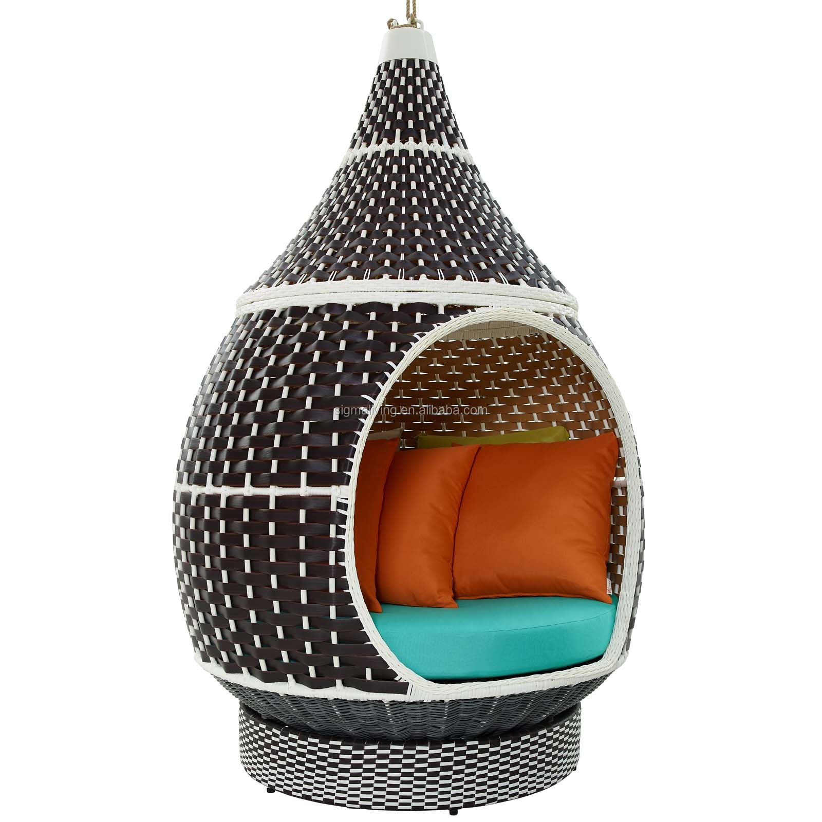 Palace outdoor patio wicker rattan garden sets hanging pod chair furniture set