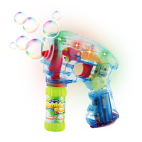 LED Light Up Bubbles Blaster Blower Battery Operated Bubble Gun with Bottle Solutions for Kid Outdoor Summer Game Party