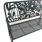 Bench Park Yard Furniture Cast Iron Frame Black Patio Birdcage Outdoor Garden Bench