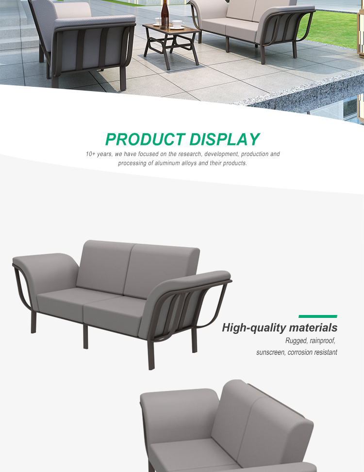 Outdoor Furniture me<em></em>tal Sofa Set Aluminum f<em></em>rame Garden Patio Outdoor Furniture Sofa With Cushion