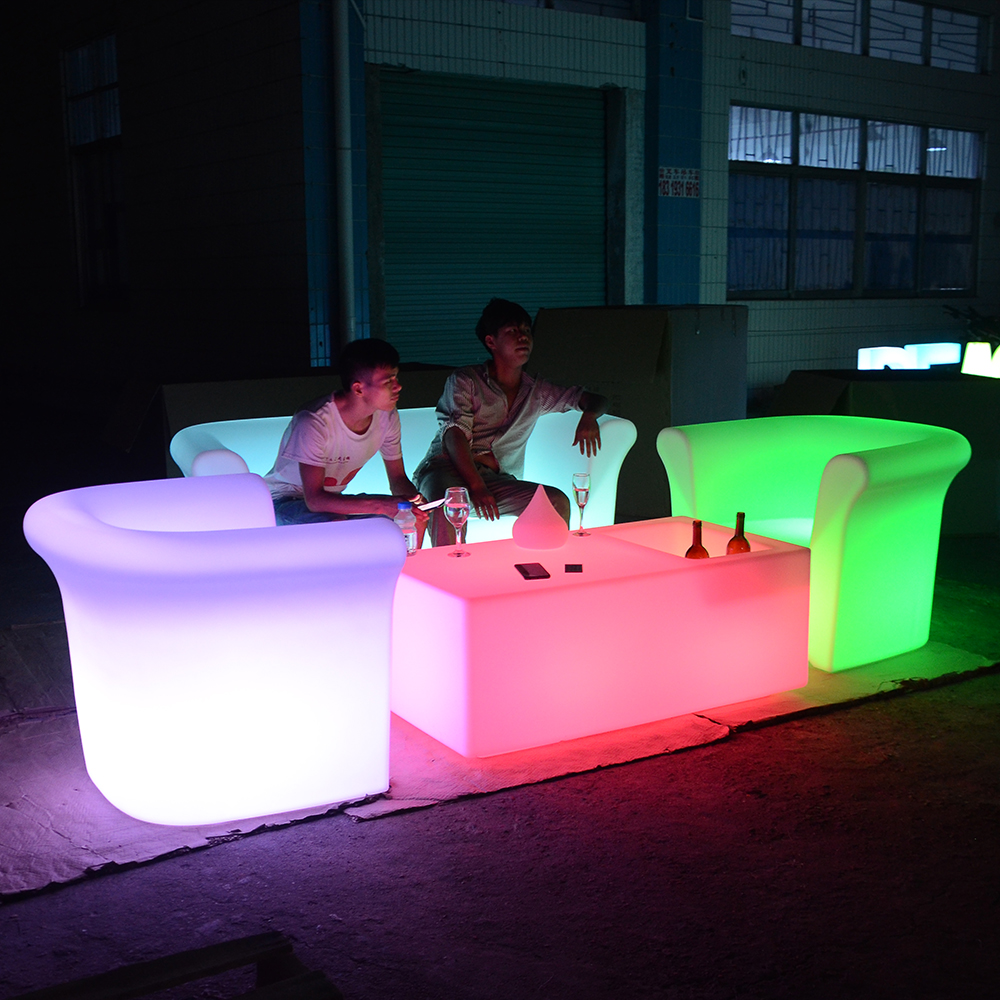 Kunststoff material garten restaurant sofa RGB leuchtende led sofa möbel led licht up sofa
