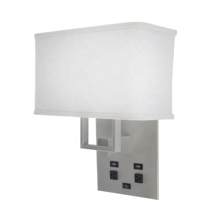 JLW-HW05 Hotel Room Bedside Brushed Nickel 2 Light Wall Lamp With USB Port Power Outlet