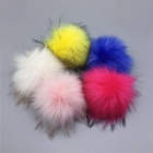 15cm DIY Detachable Faux Raccoon Fur Pom Pom Ball with snap for Knitting Hat DIY Accessories
