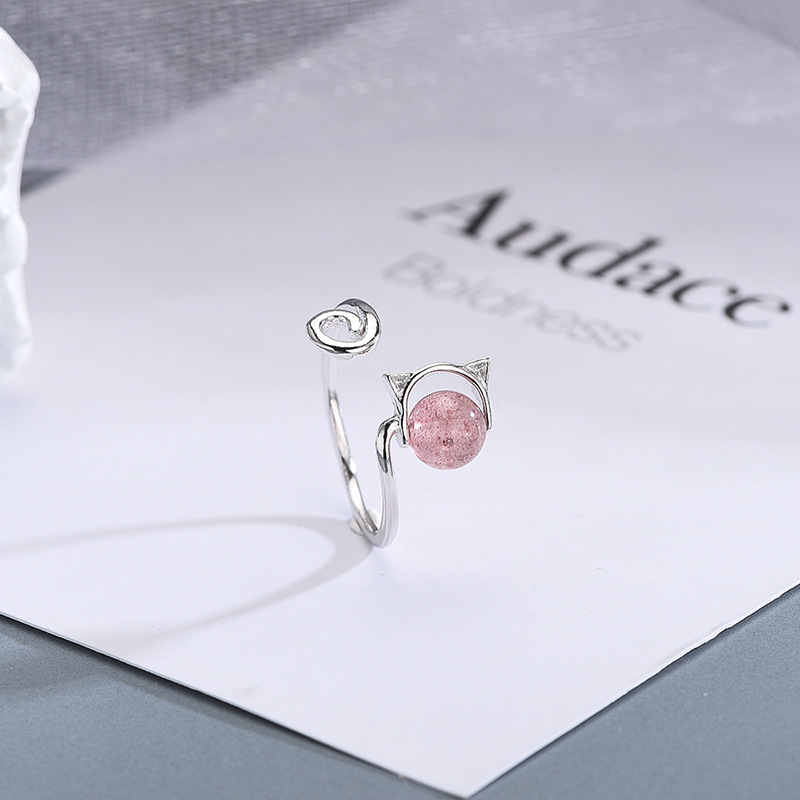 2 Design Available 925 Sterling Silver Strawberry Crystal Cat Opening Rings Simple Open Cuff Animal Cat Ring For Girls Gifts