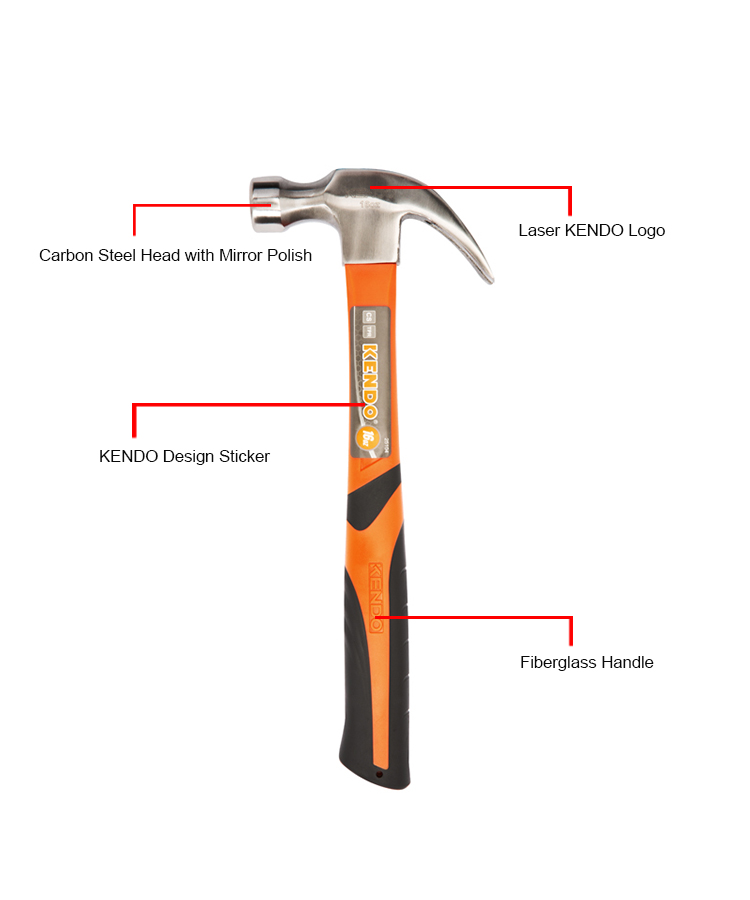 KENDO 16oz Carbon Steel Fiberglass Handle Claw Hammer Nail Hammer