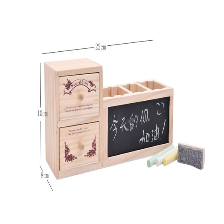 Wood double layer drawer tabletop pen holder organizer with message board