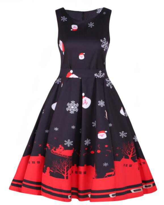 Amazon wise pop round neck sleeveless Christmas Dress