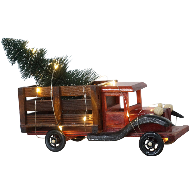 10L copper wire LED string light with decorative pine tree tower and Christmas car
