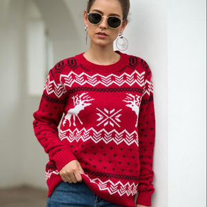 Wholesale novelty funny cute Long Sleeve ladies Christmas snowflake elk Sweater Patterns ugly knit pullover women