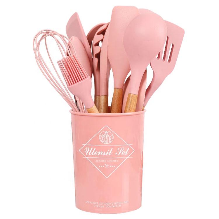13 шт Силиконовая кухонная утварь набор кухонной утвари с деревянной ручкой и держателем