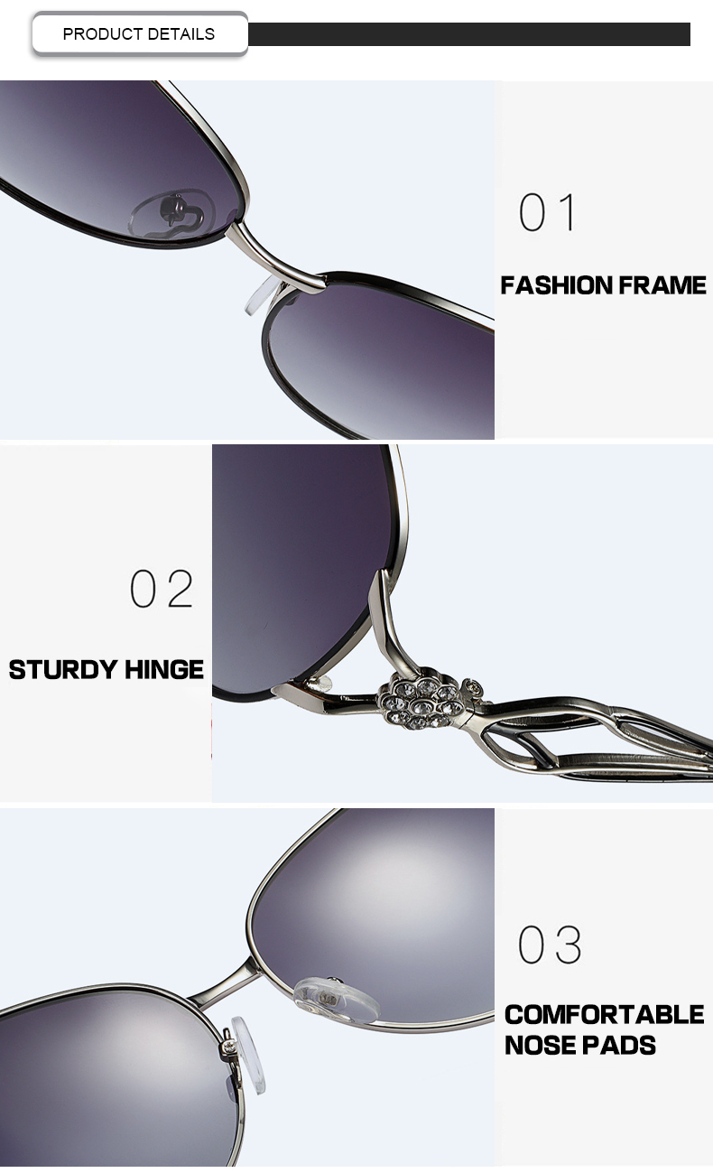 New Arrival  high quality diamond ladies sunglasses hollow out glasses temple oversized sunglasses