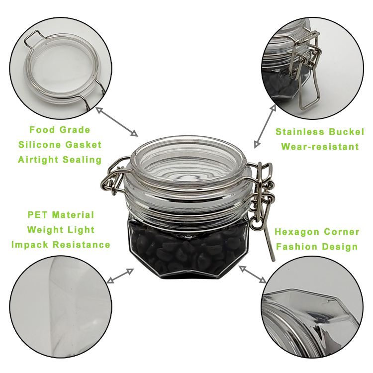 2 Pcs 120ml Airtight Square Spice PET Jar Plastic Lid With Leak Proof Rubber Gasket And Hinged Lid For Home