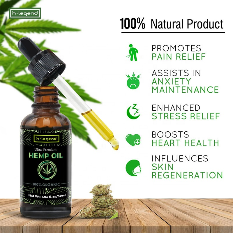 Private Label Amazon Hot Sale 5000mg Pure Organic Hemp Seed Oil CBD Oil Hemp Extract with Peppermint Essential Oil