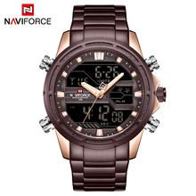 NAVIFORCE Мужские кварцевые часы, светодиодный, цифровые, мужские, синие, полностью стальные, военные, наручные часы, мужские, водонепроницаемые ...(Китай)