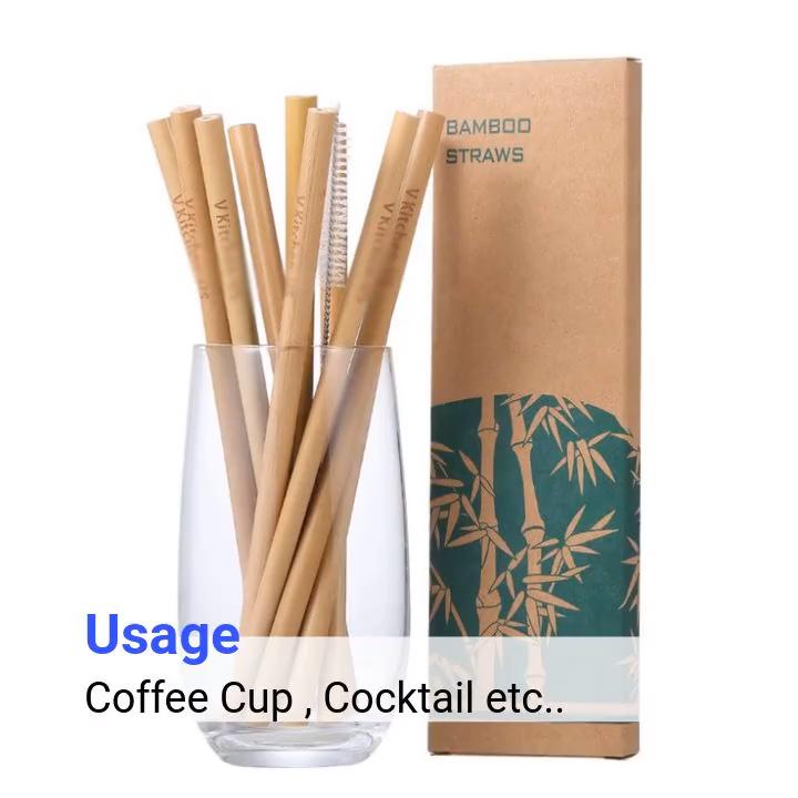 Logo Aangepaste Herbruikbare Drinken Biologisch Natuurlijke Bamboe Stro