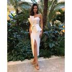 2019 new high quality white irregular neck women party wear sleeveless elegant sexy slit sexy dresses evening dress A1296
