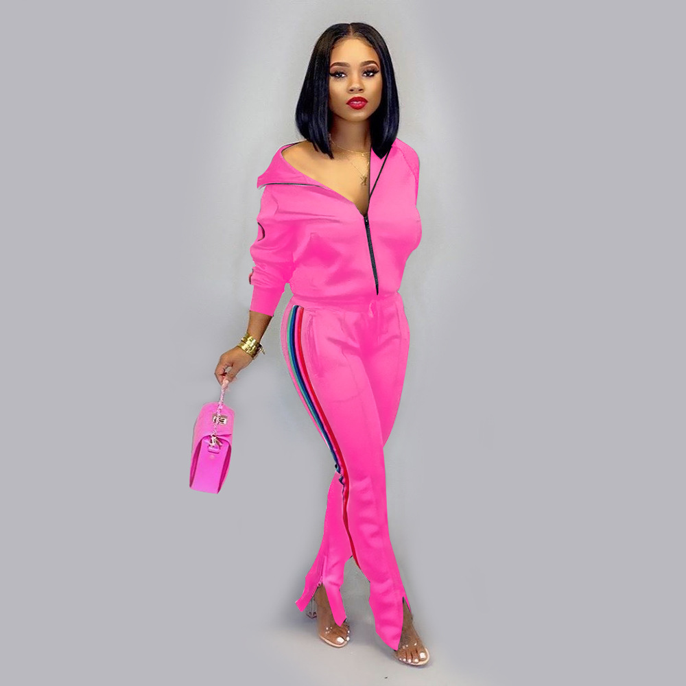 Customized Logo 2019 Zip Cardigan Women Jogger Sets Matching Sweat Suits for Women Blank Jogging Suits Wholesale Tracksuits
