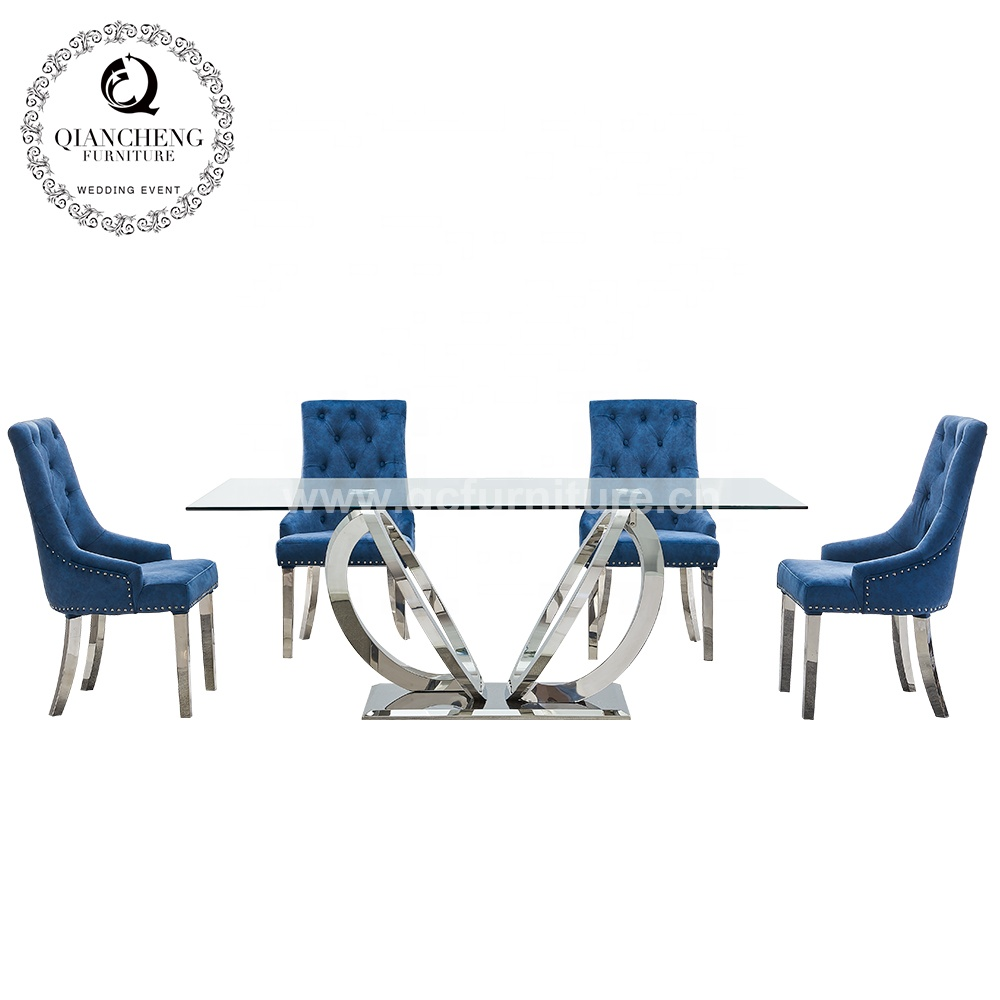 dining room furniture stainless steel designs tempered glass top dining <strong>table</strong> and 6 chairs set