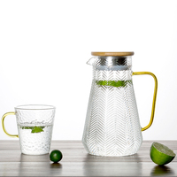 1.4/1.6L Borosilicate Glass Water Carafe With Handle and Bamboo Lid Leaves Grain Pattern Water Jug