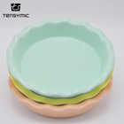 Wholesale porcelain green dinner plate restaurant dinnerware ceramic dishes plates