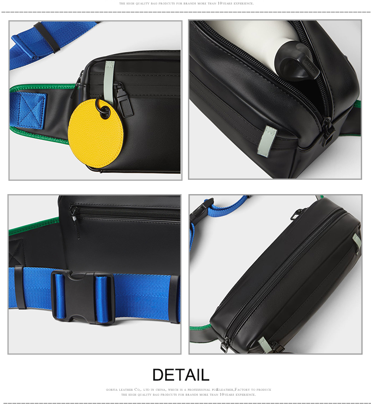 custom fashion black pu front pack men cross body stylish shoulder chest pouch sling bag