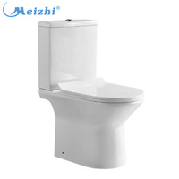 Siphon elongated two piece dual flush bathroom toilet with buffer seat cover
