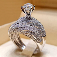 Luxury 2pcs/set Gemstone Diamond Ring Set Top Quality Party Wedding Rings For Women Accept Custom Silver Sterling 925 ZRR955