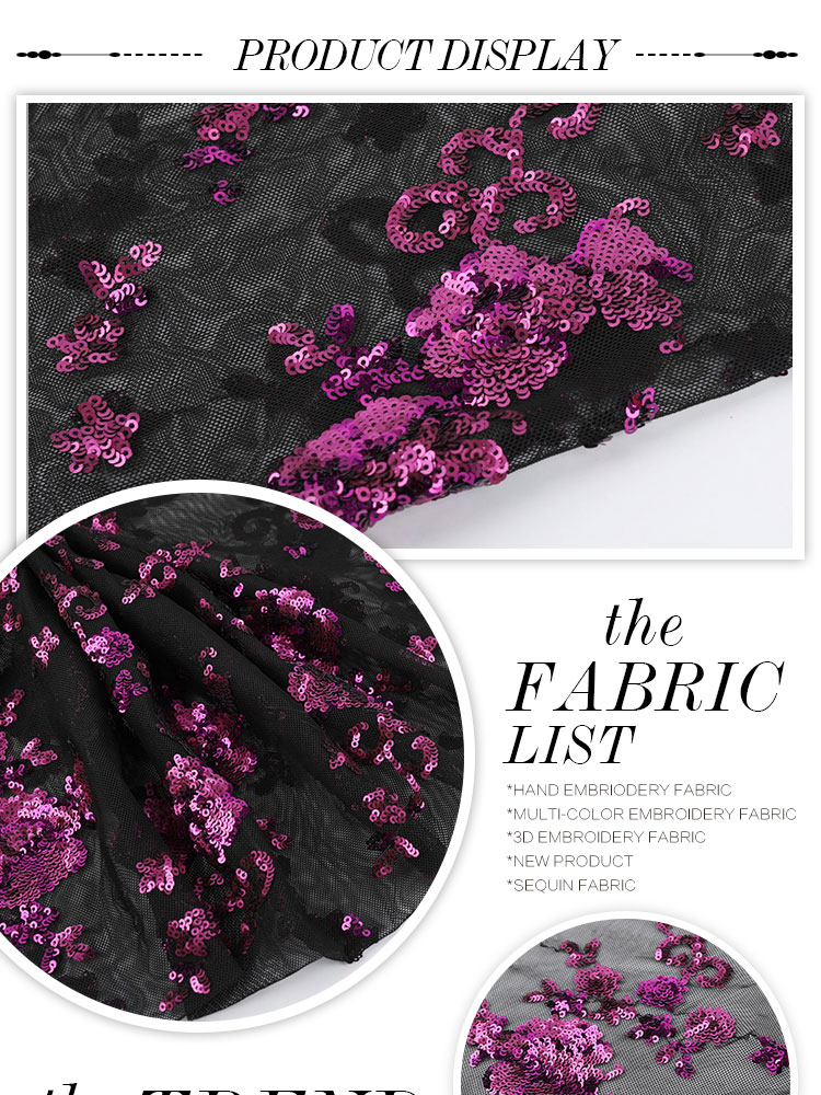 New flower embroidery Fuchsia wedding lace sequin fabric