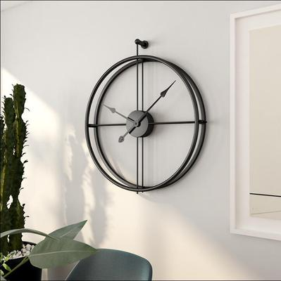 Wholesale Decorative Simple Black Round Metal Wire Wall Mirror Clock For Lving Room Furniture
