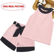 Детская летняя одежда для девочек, лоскутный комплект одежды для девочек, жилет + шорты, комплект одежды из 2 предметов для девочек, Повседне...(Китай)