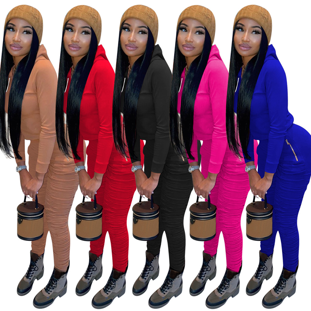 MXN Hot style new solid color casual hoodies and stacked sweatpants leggings outfits two piece fall sets women