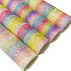 Lace Leather Glitter Fabric Sheet Rainbow Colorful Iridescent Lace Mesh Glitter Chunky Glitter Leather Velvet Backing For Making Decorations/Crafts